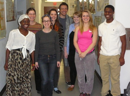 From left to right, Temina Kusi, Elizabeth Jockusch, Cera Fisher, Annette Evans, Andrew Frank, Madison Caballero, Sarah Vetrano, and Limmond Ayisi